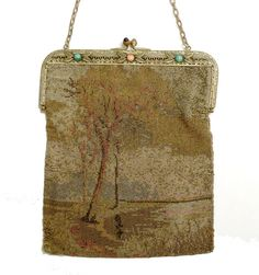 TREES LANDSCAPE GORGEOUS Antique Beaded Bag by roadtripvintageshop, $120.00 vintage beaded bag handbag purse victorian edwardian makes me think of those beautiful old Barbizon school landscape paintings