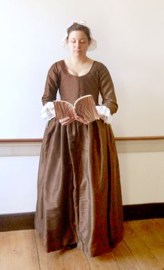 "Replica gown - 1775 ""Phebe Massey"" dress - re-created by me from an extant dress in Broomall, PA. An attractive example of 18th century Quaker fashions; the Masseys were a prosperous Quaker farming family."