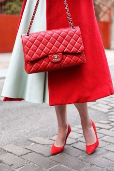 Mint and red street style + Chanel bag