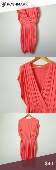{Halogen} Coral V-Neck Dress -Halogen is a Nordstrom brand -95% rayon, 5% spandex  -Made in Canada  -Soft, stretchy fabric  -Very comfy! -Would fit sizes S-M -Some pilling throughout Halogen Dresses