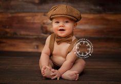 Baby Boy - Newborn photo prop - newsboy hat - baby boy photo prop - baby newsboy hat - newborn boy photo prop - toddler newsboy - bow tie. $50.00, via Etsy.
