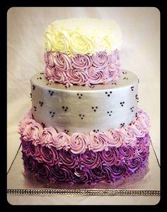 Silver and purple rosette cake