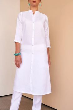 white Stand Button Down cotton blended half sleeve summer dress white Stand Button Down cotton blended half sleeve summer dress All White Party Outfits, Classy Outfits, 60 Fashion, African Fashion, Fashion Dresses, White Dress Summer, Summer Dresses For Women, White Linen Dresses, Cotton Dresses