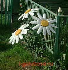 Daisies made with recycled plastic bottles Water Bottle Crafts, Plastic Bottle Flowers, Plastic Bottle Crafts, Recycle Plastic Bottles, Water Bottles, Plastic Pots, Aluminum Can Crafts, Tin Can Crafts, Recycled Garden