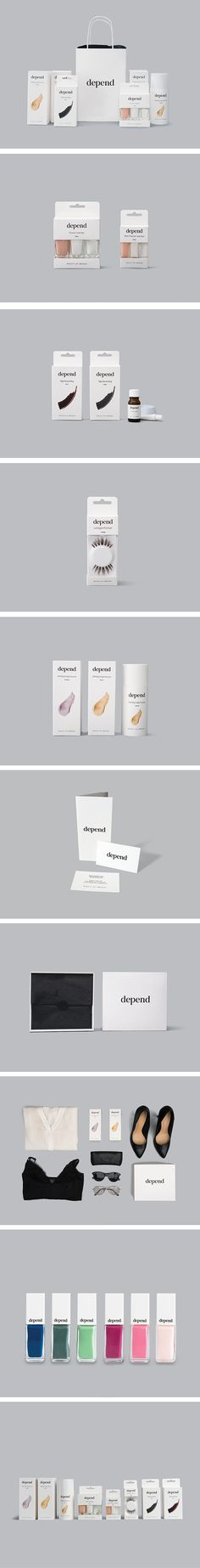 A redesign of Depend Cosmetics AB. Most of Depend's assortment is produced in Sweden, and in our redesign we highlighted this, and focused on a more Scandinavian approach to the design. This makes Depend a more authentic and honest brand with a timeless look that opens up towards an further international expansion. By: Sandra Kristensson, Emily Karlsson and Marie Hjalmarsson. #depend #dependcosmetics #redesign #beauty #sweden #packagingdesign #branding #studentwork #brobygrafiska #nailpolish