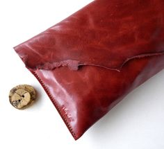 Leather Clutch - Raw and RUSTIC - with Raw Edge. $34.95, via Etsy.