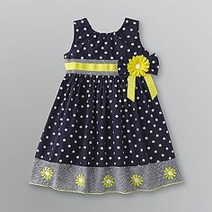 Sears Baby Clothes Nannette Little Girls' Printed Poplin Dress With 3D Flowers Yellow