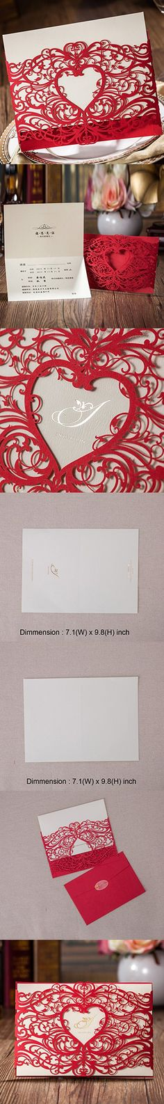 WISHMADE Laser Cut Invitations Cards Sets Red 50 Pieces for Wedding Birthday Bridal Shower with Envelopes and White Printable Paper Kits