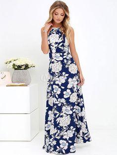 Bretelles spaghetti robe Maxi impression faible retour longue robe à fleurs