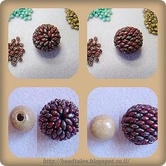 Beaded Bead - Covering a wooden bead - Translation is funky but worth some persistence. ~ Seed Bead Tutorials