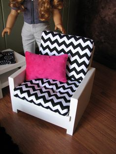 "18"" Doll Furniture - American Girl Sized Living Room - Black/white/hot Pink…"