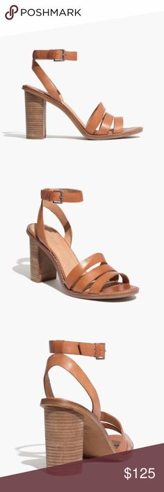 "•The Adler Strappy Sandal by Madewell PRODUCT DETAILS A stacked-heel sandal in rich, smooth leather. The narrow triple straps are definitely a little sexy (but also stay on your soles, no problem). Please note: When you select your size, ""H"" equals a half size.   * Leather upper and lining. * 3 1/2"" heel. * Man-made sole. * Import. * Madewell.com only. * Item C5332.  Our home is: •Smoke free •Pet friendly  *Actual photos and additional details to follow.. Madewell Shoes Sandals"