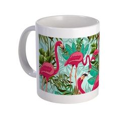 BluedarkArt The Chameleon's Art: Pink Flamingos Fabric Pattern Mugs by      SOLD! #Pink #Flamingos #Mug - #Design by #BluedarkArt  http://www.cafepress.com/mf/104868561/pink-flamingos-fabric-pattern_mugs?productId=1800226215   @cafepress