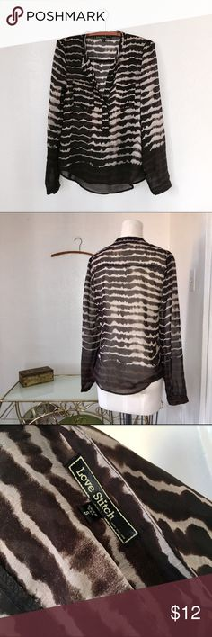 LAST CHANCE Love Stitch Tie Dye Stripe Blouse Darkest brown black and white combo sheer blouse.  By Love Stitch, size Small in like new condition...worn to worn once. Love Stitch Tops Blouses