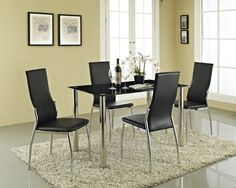 Rome Black Glass #DiningTable 4 Seater Set  Black tempered glass dining table.