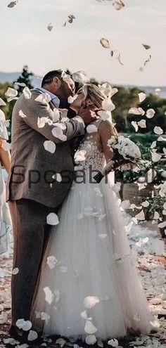 Elegant A-Line V Neck Tulle Long Beach Wedding Dresses With Appliques WD0541#weddingdresses #weddingdress #bridalgown #weding #bridaldress #laceweddingdress #fashion #Ballgown #Country #boho #Princess #modest Modest Bridesmaid Dresses, Bridal Dresses, Long Beach, Summer Beach, Pretty Wedding Dresses, Lace Wedding, Wedding Dressses, Dream Dress, Marie