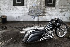 """Paradigm - by Ballistic Cycles - with a 30"""" MAD Twist - the first 30""""  motorcycle wheel ever made"""