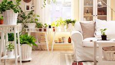 IKEA Österreich, Wohnzimmeroase u. a. mit Pflanzen in KALASA Übertöpfen in Weiß in unterschiedlichen Größen, LANTLIV Blumenständern in Weiß und auf LANTLIV Pflanzenrollwagen in Weiß
