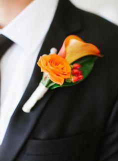 orange boutonniere - San Diego Wedding from Wynn Austin Events + Marisa Holmes