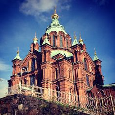 Uspenskin is an ornate cathedral offering a great scenic lookout. Cities In Europe, Red Bricks, Footprints, Helsinki, Finland, Barcelona Cathedral, The Neighbourhood, Architecture, City