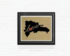 Dominican Republic Love Burlap Printed Wall by TraciWithaniDesigns