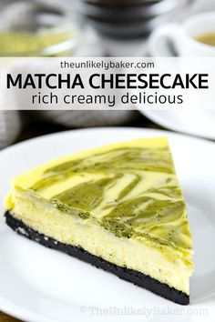 Matcha cheesecake is rich, creamy and packed with that green tea flavour you love. With white chocolate in the batter and an Oreo cookie crust, it's sure to become your new favourite matcha dessert. Click to get the recipe with lots of baking tips for making perfect cheesecake every time. Homemade Cheesecake, Easy Cheesecake Recipes, Easy Baking Recipes, Baking Tips, Dessert Recipes, Dessert Ideas, Homemade Cookies, Homemade Desserts, Easy Desserts