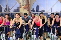Cathe's Pedal Power Workout. This is a picture from the filming of Pedal Power. This is our third indoor cycle video and this workout features some of our best high energy music that we had created for our 2013 workout videos.