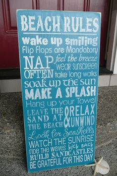 BEACH RULES,Hand Painted Wood Sign, Beach Rules,Typography, Subway, Wall Decor,Ocean