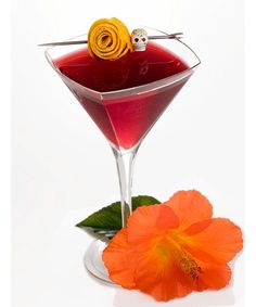 """oz Espolón Tequila oz White Crème de oz Ruby oz Hibiscus Tea, dashes of orange bittersOrange peel, garnish Directions""""Shake ingredients together with ice and strain into chilled cocktail glass. For garnish twist a strip of … . Cocktail Glass, Cocktail Drinks, Fun Drinks, Yummy Drinks, Cocktail Recipes, Alcoholic Drinks, Drink Recipes, Beverages, Refreshing Drinks"""