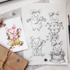 super Ideas for cupcakes drawing design sketch Cupcake Illustration, Illustration Sketches, Drawing Sketches, Art Drawings, Cupcake Drawing, Baby Pigs, Diy Gift Box, Winter Pictures, Xmas Cards