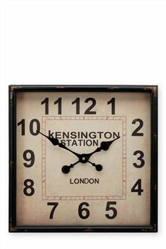 Buy Square Wall Clock from the Next UK online shop Next At Home, Next Uk, Mantle Clock, Side Wall, Interior Design Tips, Uk Online, Stuff To Buy, Shopping, Kitchen Ideas