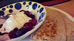 Grain / Gluten free paleo pancakes + Berries with greek yogurt #breakfast ideas #paleo #glutenfree