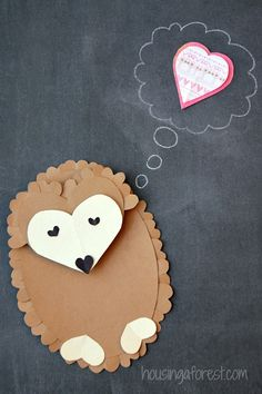 6 Heart Shaped Animals with FREE printable PDF's ~ Heart Shaped Hedgehog Valentine crafts for kids