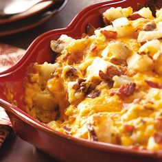 """Baked Potato Casserole Recipe -Baked Potato Casserole was created by Karen Berlekamp of Maineville, Ohio, with input from friends and neighbors. """"I wanter a great all-around side dish for special meals,"""" Karen notes."""