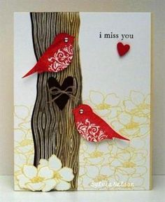 adorable handmade card ... two red punched birds in a tree ... Stampin' Up!