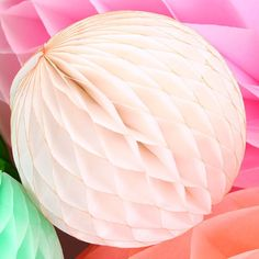 Ivory Tissue Paper Honeycomb Ball in 4 sizes