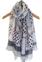 PRETTY LADIES GREY  BLUE PINK ABSTRACT HEART PRINT OVERSIZED SCARF WRAP AW16