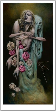 British artist CRAWW's new body of work 'Incantation' invites us into a dark and evocative ritual, as women dance with the dead and shades caress the living. Arch Enemy, Art Thou, A Level Art, Realism Art, Macabre, Dark Art, Female Art, Contemporary Art, Horror