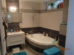 Koupelna 1 Corner Bathtub, Bathroom, Bath Room, Bathrooms, Bath, Bathing, Bathtub, Toilet