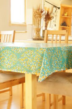 Laminated Cotton Tablecloth   Green Floral Field Study