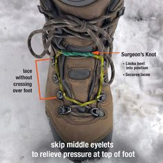 how to lace hiking boots to relieve foot pressure pain Camping & Hiking Clothing Backpacking Tips, Hiking Tips, Camping And Hiking, Camping Gear, Camping Hacks, Bushcraft Camping, Women Camping, Hiking Gear Women, Hiking Checklist