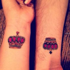 Cute King and Queen Wrist Tattoo for Couple | Cool Tattoo Designs