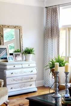 Top This Top That  -- love these curtains and the bombay chest in her living room