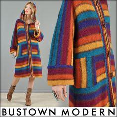 vtg 70s RAINBOW STRIPE wool hippy boho knit cardigan jumper jacket coat sweater | eBay