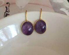 18K Gold Fill Amethyst earrings - small simple purple gemstone drop earrings - February Birthstone jewellery - 7th Chakra gift