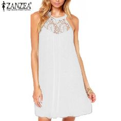 ZANZEA  Summer Style Women Sexy Casual Sexy Lace Chiffon Dresses Sleeveless Loose Party Mini Solid Dress Vestidos Plus Size Do you want it Get it here