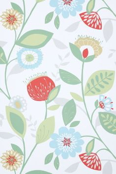 Wallpaper by ellos Monivärinen Felicia-tapetti, valkoinen pohja