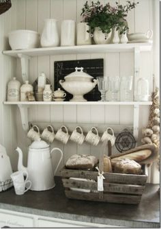 white dishes display