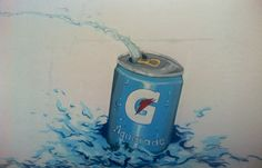 Street art. mural nadadora. Publicidad aquarade