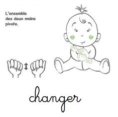changer la couche langue signes bébé Montessori, Sign Language, Signs, Doll Patterns, Little Ones, Baby Dolls, Animation, Education, Fictional Characters